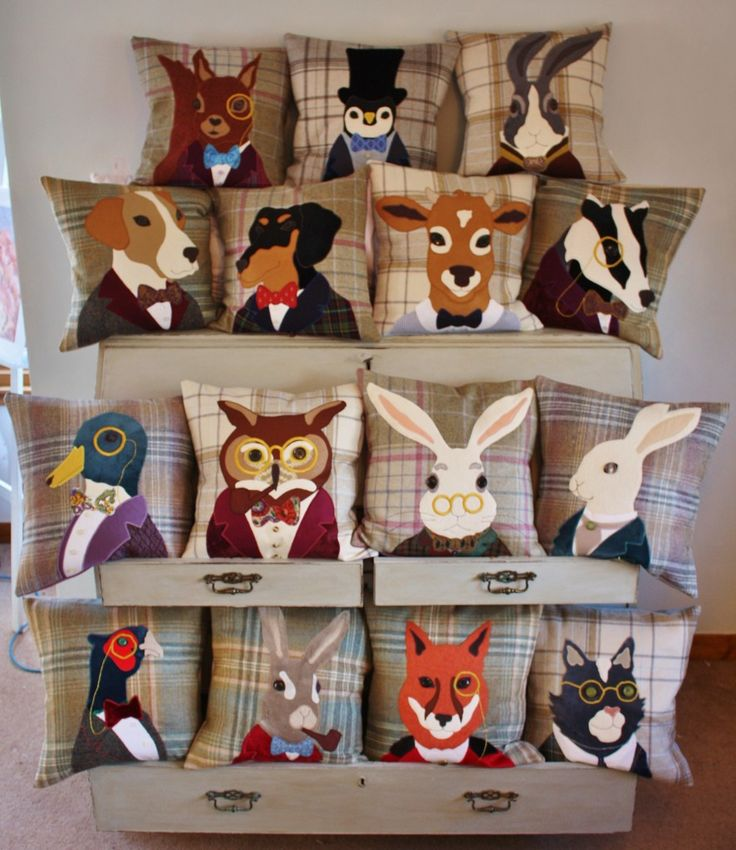 I can only imagine the time and skill it must have taken to make these wonderful cushion covers.  #cushion #tweed #handmade #animal #applique #british #gift #interiors #design #craft