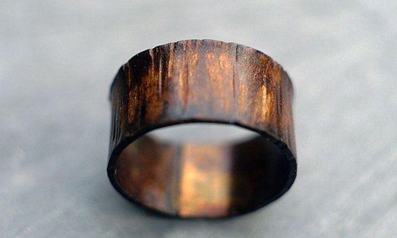 Mens Women S Custom Wide Copper Ring Band Wood Grain