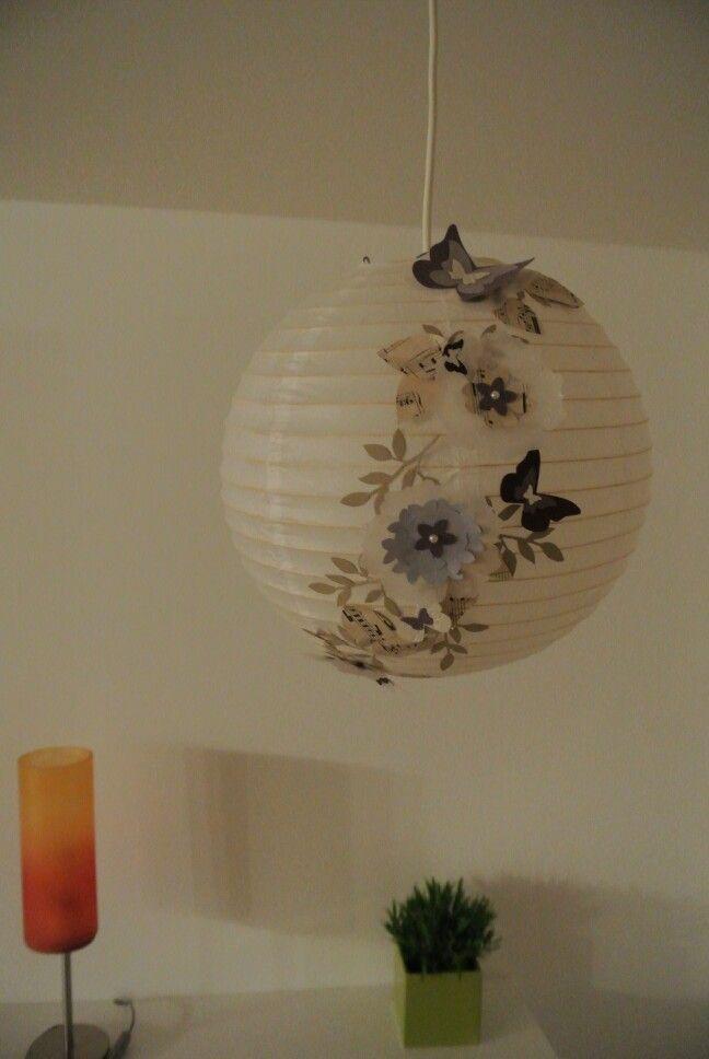 Lampion verschönert lila, notenpapier...