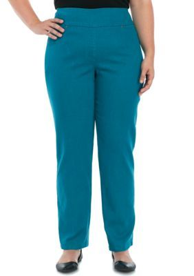 Ruby Rd Women's Plus Size Extra Stretch Denim Pants - Peacock - 22W