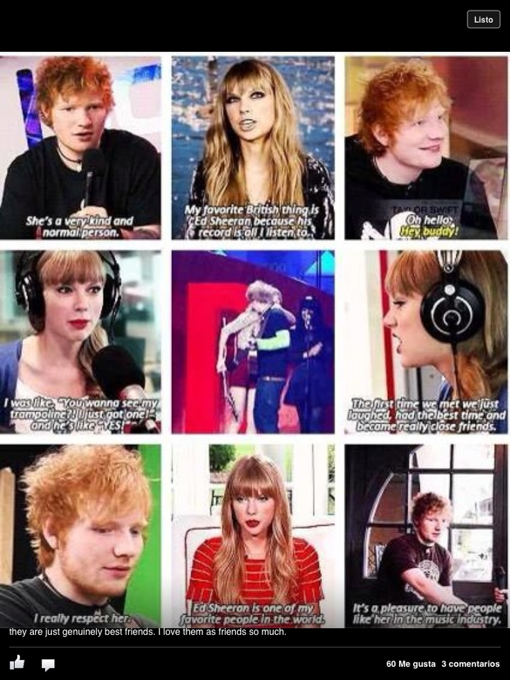 Taylor Swift and Ed Sheeran don't need to date but they're great as best friends.I don't want her to write a song about him):