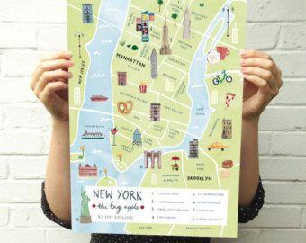Parijs kaart  Frankrijk geïllustreerd Art Print  stad kaart