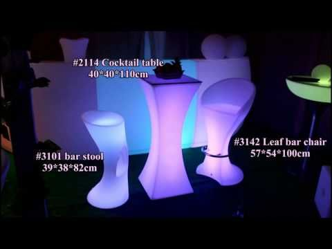 LED cocktail table cresent bar table bar furniture set  for party
