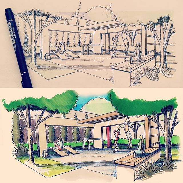 Fitness!!! #freehand #sketch #sketching #sketch_daily #croqui #handdraw #landscapedesign #landscapearchitecture #landarch #paisagismo #fitness #architecture #arquitectura #arch_more #arqsketch #archisketcher #archilovers #arquitetapage #residencial #gardendesign #oldschool #markers #drawing #desenho #maolivre #dibujo
