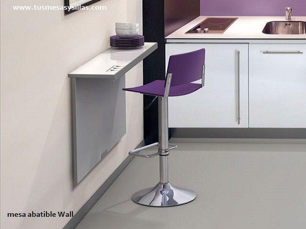 mesa mostrador para cocinas pequeñas o alargadas para altura de mesa de 75 cm o mostrador de 90 cm en blanco y cristal blanco brillo o mate