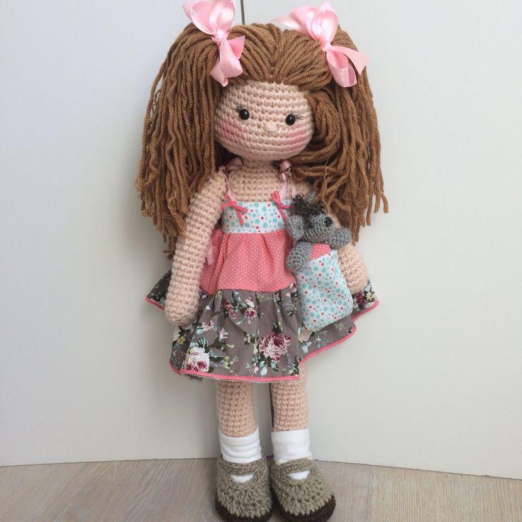 "24"" amigurumi doll and her teddy"