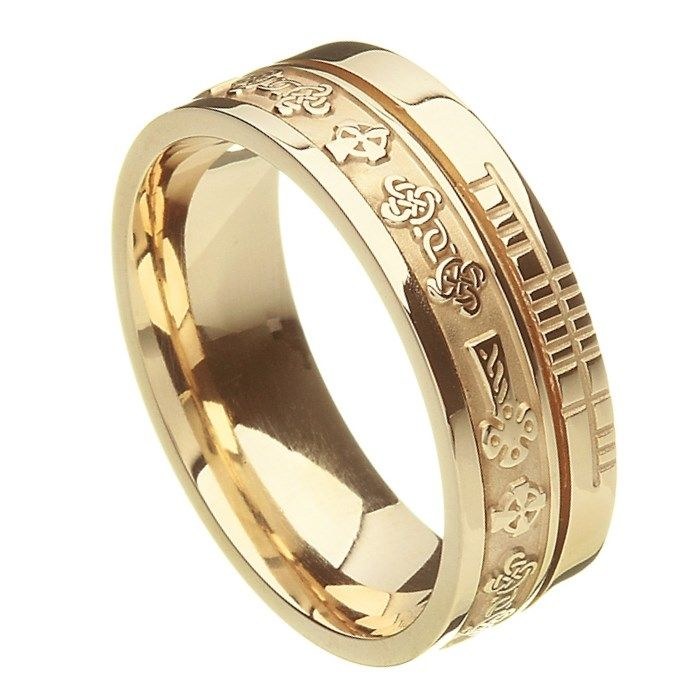 Comfort Fit Celtic Cross Faith Yellow Gold Band - Rings from Ireland