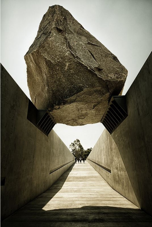 Levitated Mass at the Los Angeles Contemporary Museum of Art