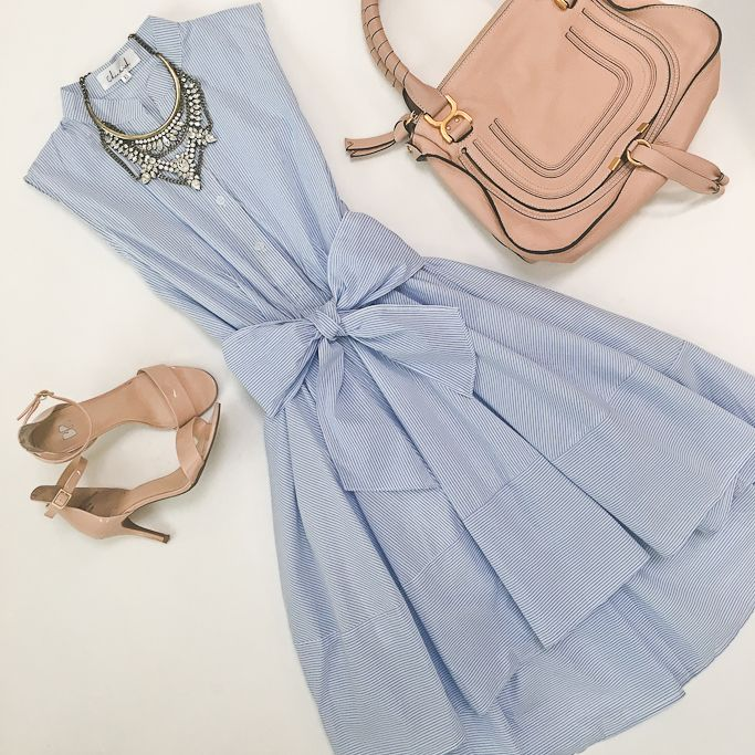 Striped blue flare dress with bow sash tie, blush nude sandals, Chloe marcie leather small satchel flatlay, spring outfit - click through for details!