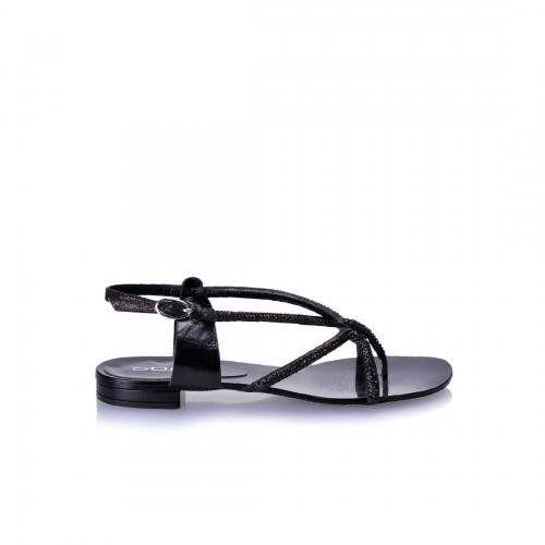 Siyah Deri Arkadan Fermuarlı Taşlı Parmak Arası Sandalet | Nemoda.com.tr