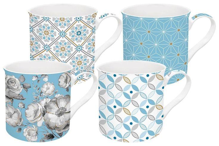 Набор из 4-х кружек из фарфора «Цветовая палитра» (голубая) в подарочной упаковке      Бренд: Easy Life (Nuova R2S) (Италия);   Страна производства: Китай;   Материал: фарфор;   Коллекция: Цветовая палитра;   Количество предметов: 4 шт;   Объем: 0,3 л;          #tea #porcelain #фарфор #посуда #чай