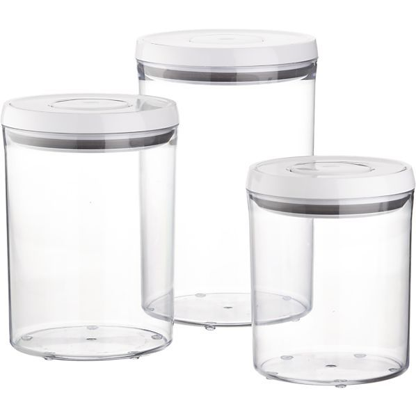 3-Piece OXO® Pop Round Containers with Lids Set in Food Containers, Storage | Crate and Barrel