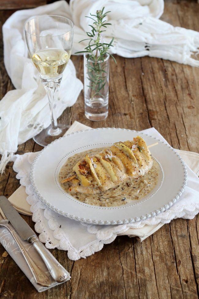 Mi Gran Diversión: Pollo relleno con peras, nueces y gorgonzola con mermelada de setas