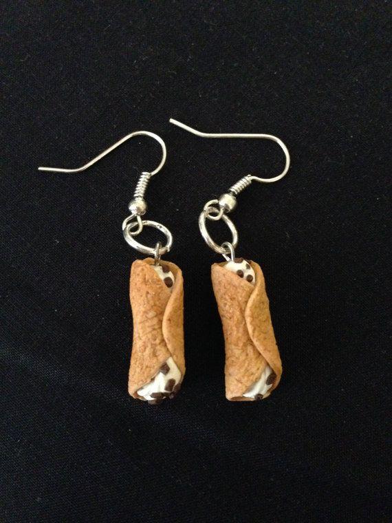 Cannoli Miniature Food Earrings - Miniature Food Jewelry on Etsy, $10.00