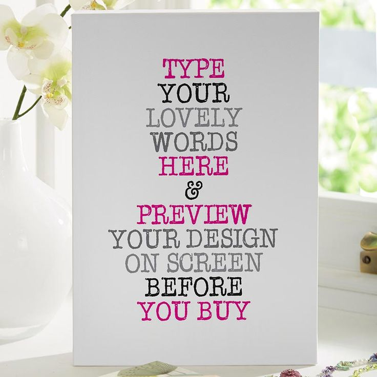 Beautiful Personalised Word Art Prints & Canvases. Easy to Create & Preview On Screen Before You Buy