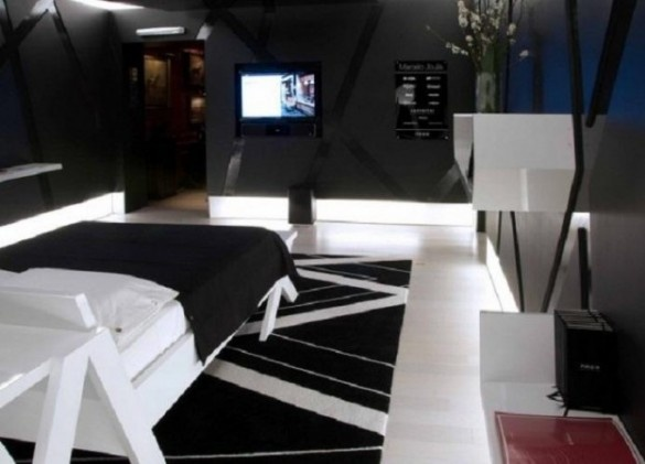 Black and White Bedroom Decorating Ideas for Men and Lcd TV - Luxury home design: Interior, Furniture, Decoration, Interior, Villa, and apartments