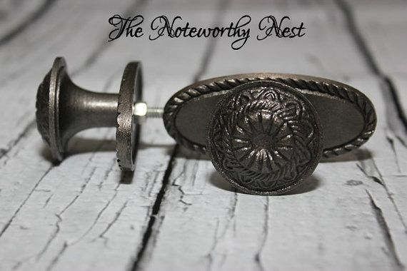 These cool pewter style knobs will add that perfect touch to your bathroom cabinets or that perfect dresser or bifold door! Price is per knob