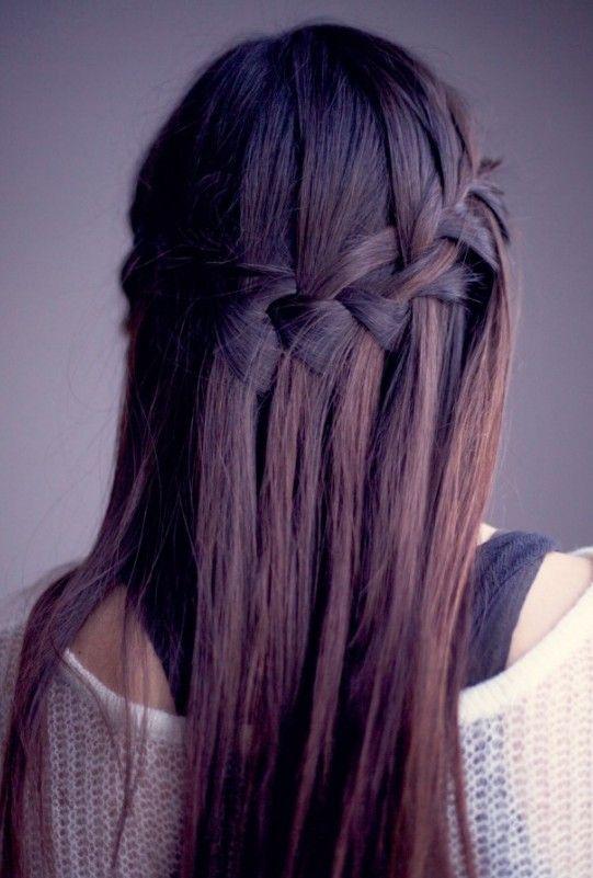 http://hairstylesweekly.com Waterfall Braid for Long Straight Hair - Sleek Long Hairstyle with Braid
