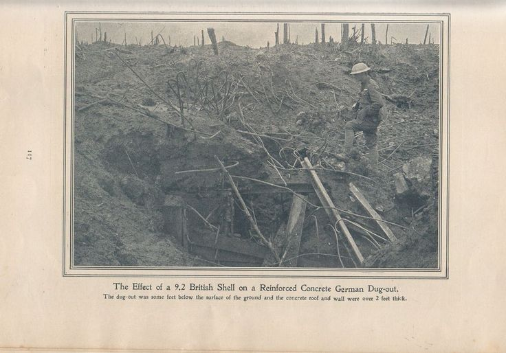 """Original 1917 Anzac Print-Antique Vintage """"The Effect of a 9.2 British Shell on"""