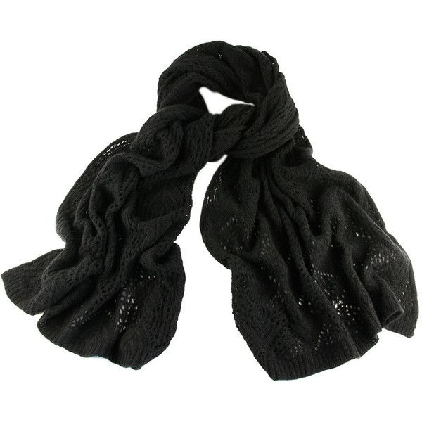 Black Black Oversized Lace Knitted Cashmere Wrap ($270) ❤ liked on Polyvore featuring accessories, scarves, wrap scarves, black shawl, black scarves, lacy scarves and wrap shawl