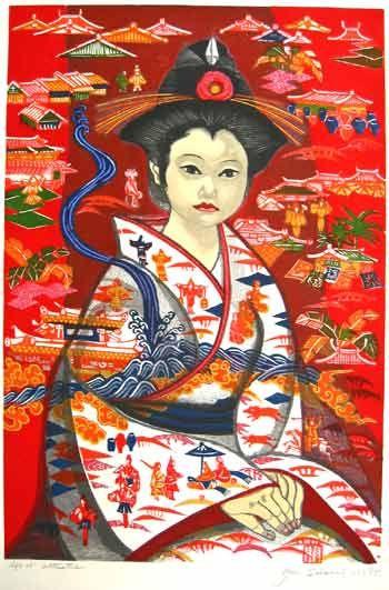 Bin-gata. Junichiro Sekino. 1975. Woodblock Print.