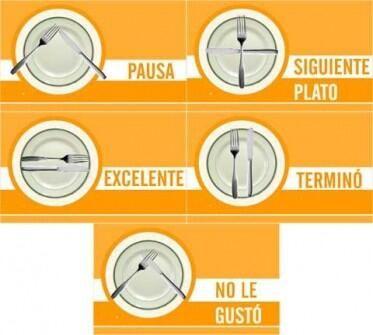 etiqueta de cubiertos al terminar de comer