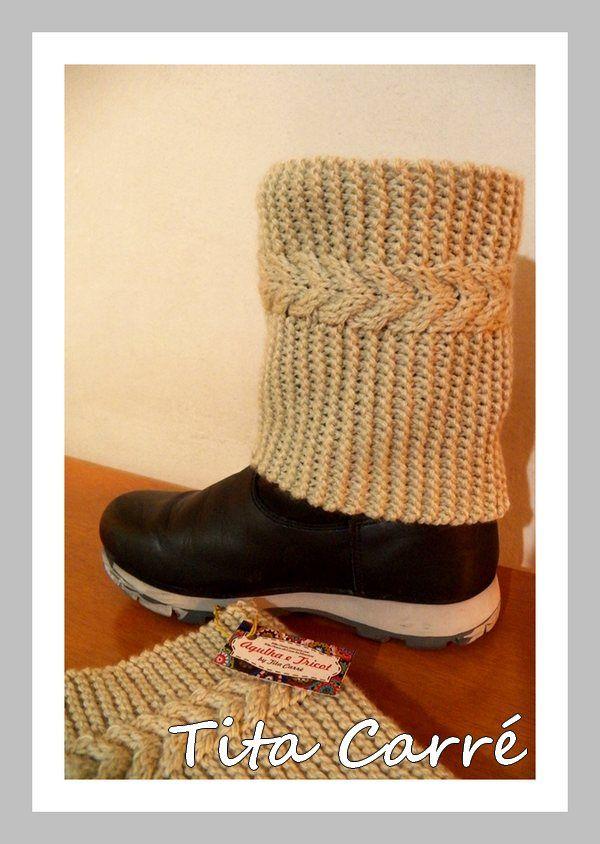 Boot Cuff com ponto trançado em 3 D em trico - COM RECEITA DA CORDA