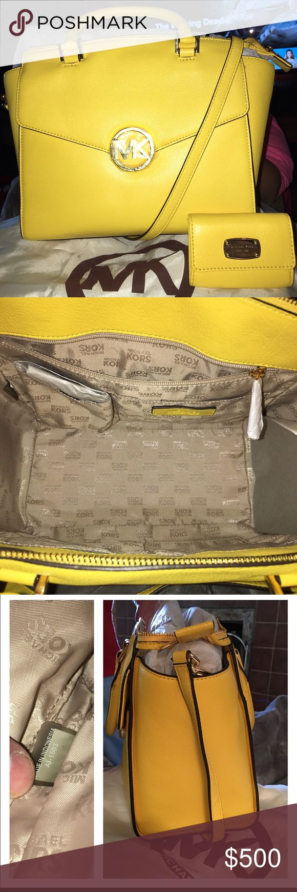 """Michael Kors Hudson LG Satchel This beautiful Citrus (bright yellow) bag  just in time for summer! It's very roomy with 4 slip and 1 zip pocket inside, pocket outside with magnetic closure, gold hardware, adjustable strap to wear it on the side, 5"""" drop on double handles and the measurements are 13 X 10.5 X 6 MSRP $439 wallet has a zip, 2 slot pockets, and 1 open pocket with leather strap key ring MSRP $116.  It comes with a dust bag VERY FIRM MICHAEL Michael Kors Bags Satchels"""