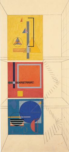 Herbert Bayer (American, b. Austria, 1900-1985). Wall-painting design for the stairwell of the Weimar Bauhaus building on the occasion of the 1923 Bauhaus exhibition, 1923. Gouache, pencil, and cut paper on paper. 22 7/8 x 10 3/8 in. (58.1 x 26.4 cm).