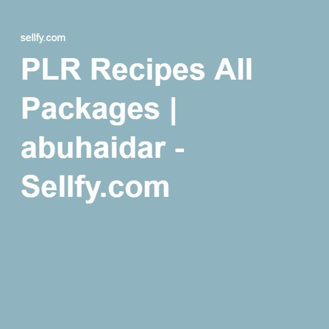 PLR Recipes All Packages | abuhaidar - Sellfy.com