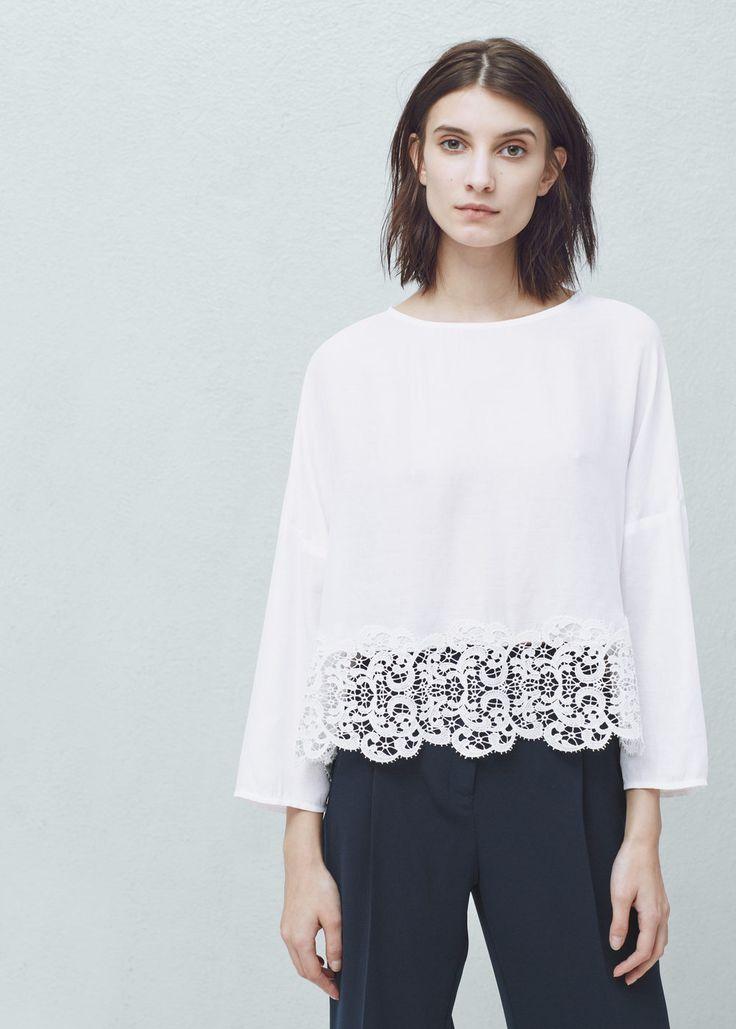 Lace edges top - Shirts for Women   MANGO USA