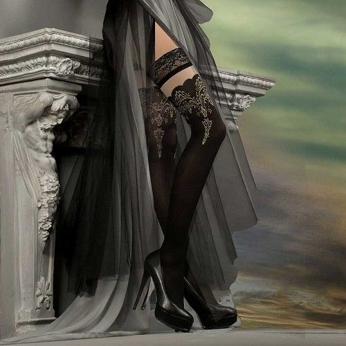 Helana kanten stay-ups kousen met barok detail zwart