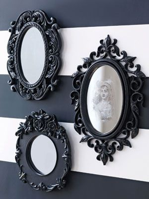 Craft Project: Spooky Halloween Mirror.  This is what I did for the Evil Queen's mirror.  Not very flashy, but inexpensive and it did the trick.