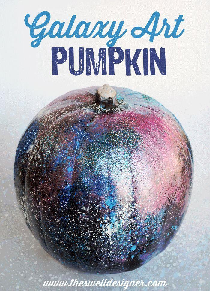 DIY Galaxy Art Pumpkin Tutorial - The Swell Designer