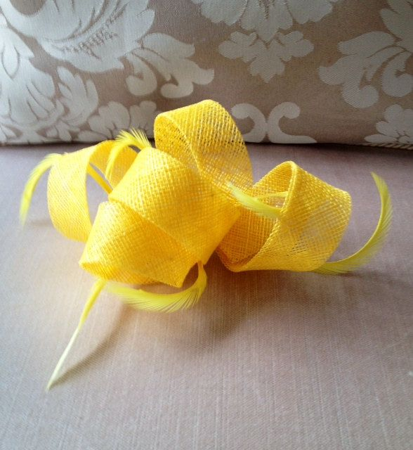 Pretty yellow fascinator with feathers! by CanteringDesigns on Etsy