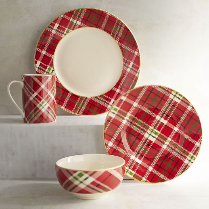 Is there anywhere plaid can't go? We don't think so. In fact, our dinnerware and its festive red, white and green pattern look quite at home on your holiday table. It's microwaveable and dishwasher-safe. And while plaid may have originated in Scotland, it doesn't mean you have to serve haggis for Christmas dinner. Unless you want to.