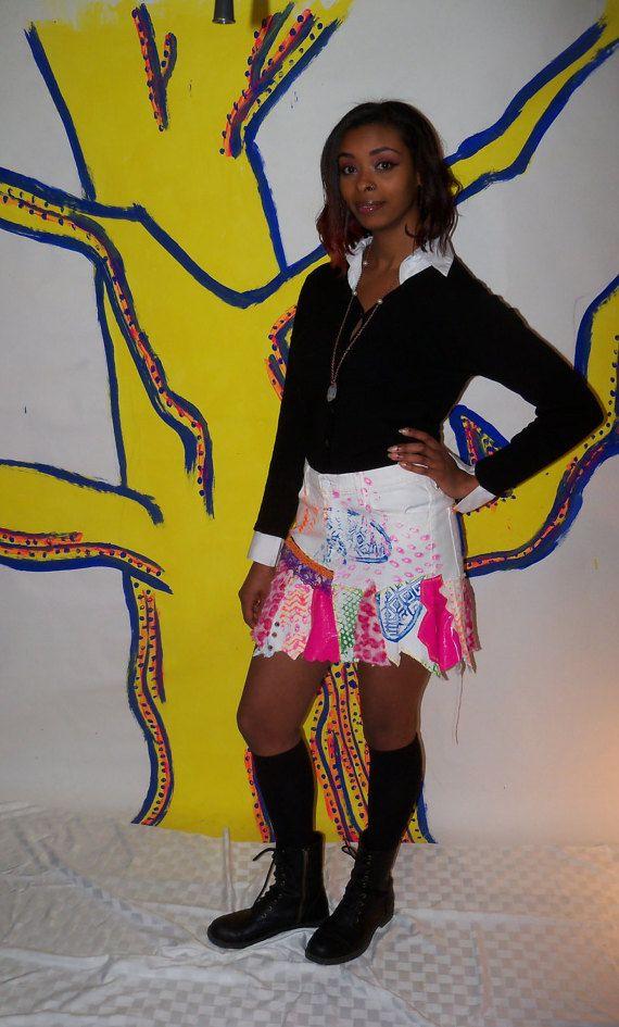 Original Punk Skirt, Eco friendly skirt, One of a kind, Size 8 Punk Skirt, Leopard Print, Neon Skirt, Black light friendly