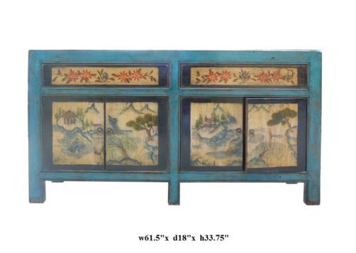 Chinese Blue Lacquer Ink Scenery Console Sideboard Table Cs035 Ebay