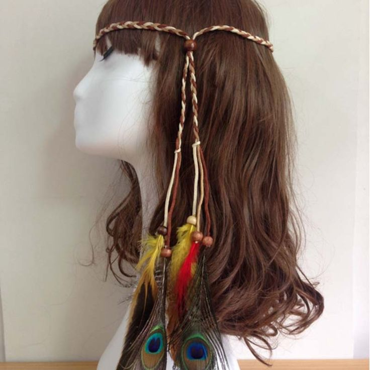 Fashion Women Feather headwear Indian Bohemian  Peacock Feather Head Bands Hippie Headdress party accessories F0230