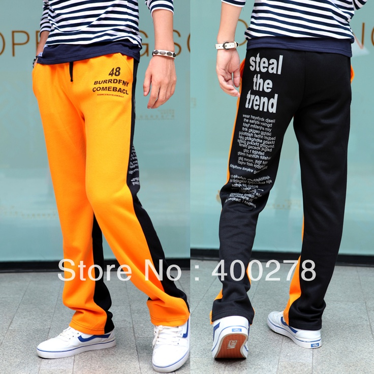 Free shipping Mens Preppy style fashion color block male sports pants letter print sports trousers L4