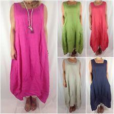 Italian Lagenlook Linen Long Curve Tunic Dress