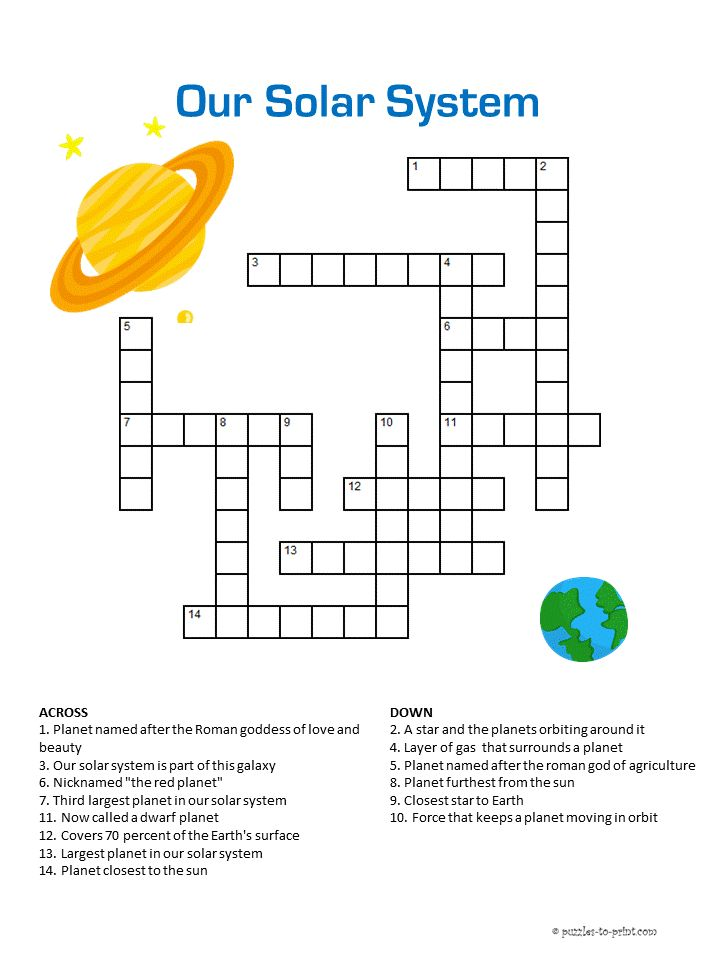 Our Solar System Crossword | Solar system activities ...