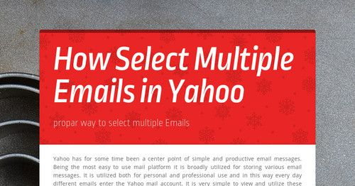 Yahoo has for some time been a center point of simple and productive email messages. Being the most easy to use mail platform it is broadly utilized for storing various email messages. It is utilized both for personal and professional use and in this way every day different emails enter the Yahoo mail account.