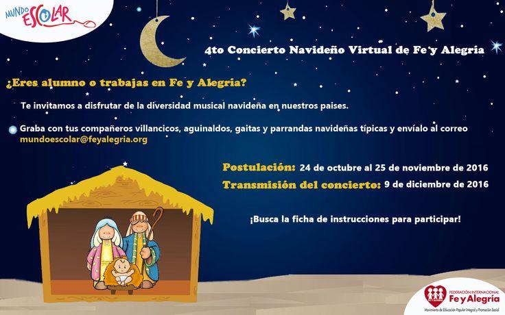 ¿Te gusta cantar? ¡Participa en el 4to Concierto Navideño Virtual de Fe y Alegría en Mundo Escolar  #ConciertoVirtual #Navidad #Afiche