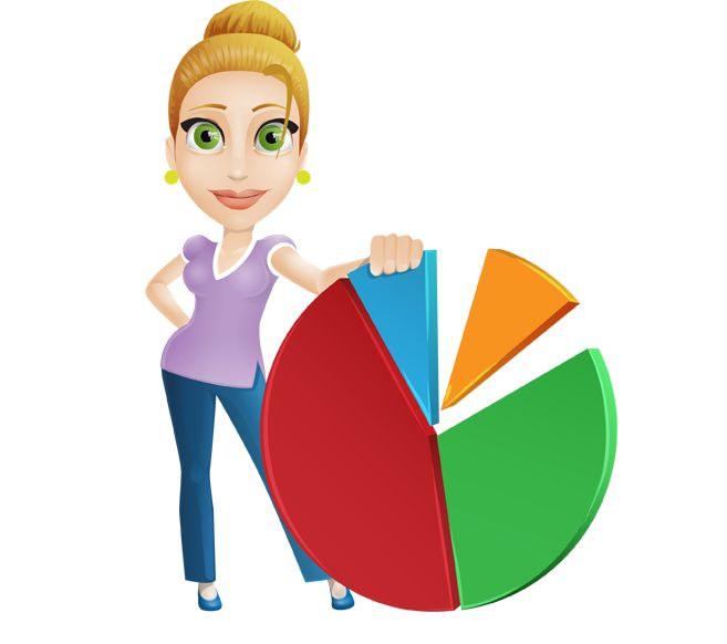 Image for Free Lady Behind Pie Chart Vector Character