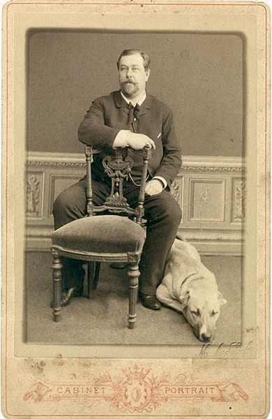 """""""Мужчина с собакой"""". Фотография М.Лебедева.1882 г."""