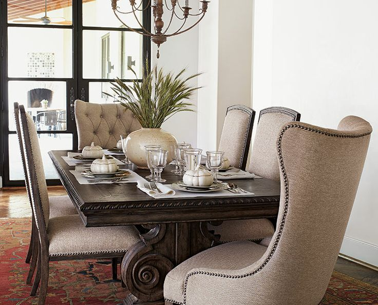 tufted dining chairs with nailheads | rickevans homes
