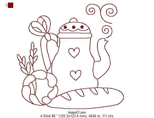 Kitchen Teapots Redwork Machine Embroidery Patterns / Designs - 4x4 and 5x7 Hoop - 6 Designs. $7.00, via Etsy.