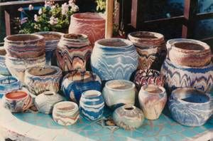 Ozark roadside tourist pottery, Love it! This Pottery was designed and manufactured ( selected potter) in Southwest Missouri at Star Route One, Box 205, Hollister, Missouri by The Family of Virgie M. Hughey Clarkson, and C.C. Clarkson .