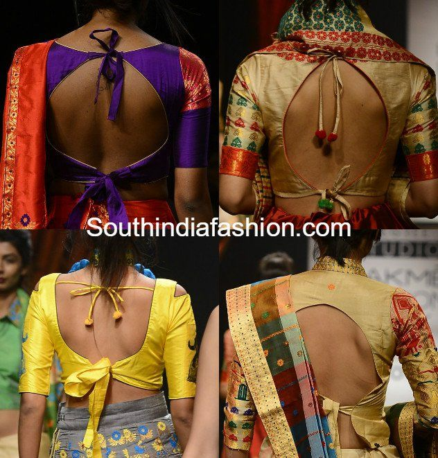 Tie-up Saree Blouse Back Neck Designs